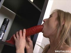 Thin Russian rides and cums on a big brutal dildo
