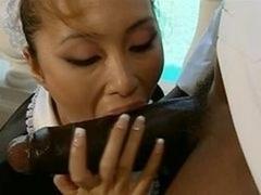 asiatic maid interracial CFNM Blowjob