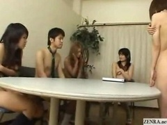 Undressed in school Japan students have group meeting