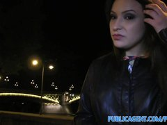 Publicagent Akasha Sex under a public bridge for black haired babe