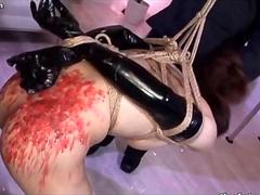 Sexy Japanese tranny slave learns what pain is