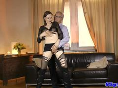Busty euro model riding old mans cock