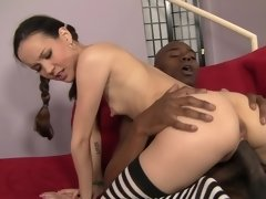 A petite brunette that loves black cock shows how she treats this one