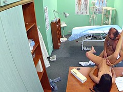 Brunette having fun ih hospital