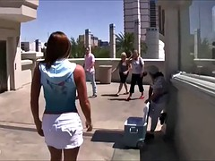 wild girl in vegas showing everyone her big tits and pussy out in public