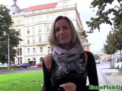 Busty pickedup euro fucked outdoors for cash