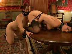 horny ladies are nailed by their master in bondage scene