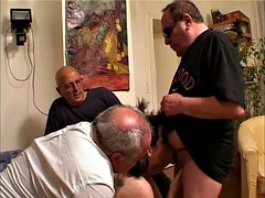 Teen fucked by 3 Old Man's