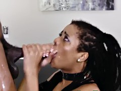 throating ebony jizzed