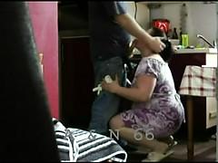 Russian mature brunette blowjob