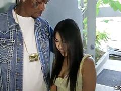 Tiny Asian doll is ready for some hard and passionate shag with her well hung black lover