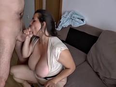 massive boob german gives hot titjob