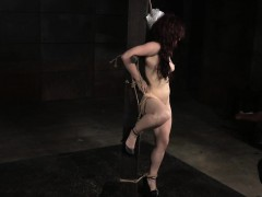 Roped redhead slave nipple and pussy punished