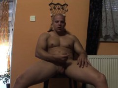 Cute bald hunk pulls his fat prick out and masturbates solo