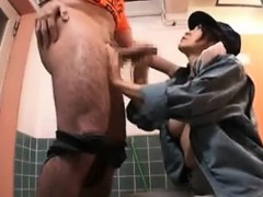 Horny Japanese girl strokes a dick and takes its juices in