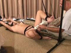 Hot whore gets bounded and manhandled by a big guy
