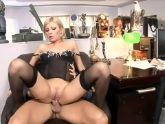 Blonde with a corset moans as her ass is getting destroyed