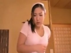 Bootylicious young Asian maid in a tiny skirt gets her boob