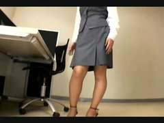 japanese office woman nylon feet