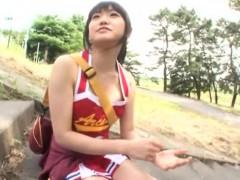 Cute petite Asian cheerleader loves the feeling of a hard c