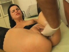 Slutty young babe gets fucked and drinks this dude's sticky cum