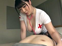 Good looking Japanese nurse and one horny guy have kinky sex