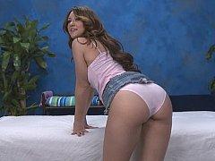 Nice ass 18-19 y.o. Jordana doing twat massage