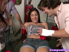 College teen parties in dorm with doggystyle
