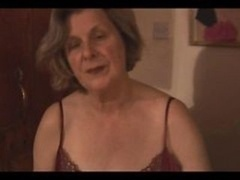 Granny In Slip & See Thru Panties Showing Off Shaggy Twat