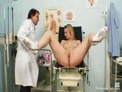 Zaneta has her pink slit gyno speculum analyzed by grown-up doctor