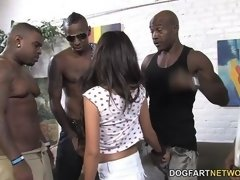 Petite Trinity St. Clair Gets Assfucked in an Interracial Gangbang