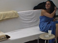 girl open legs during backstage photoshoot