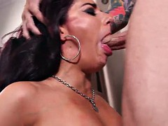 slutty brunette cowgirl with natural tits gets cum in her mouth after getting her face fucked hardcore