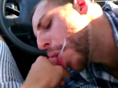 Car blowjob in the roof parking garage