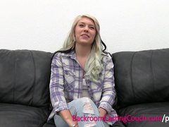 Incredible Blonde Amateur Fucked and Creampie on Casting Couch