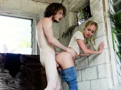 Lovely blonde gets huge cock in public
