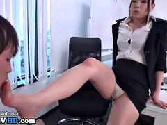 japanese secretary foot fetish in office