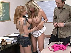 Steamy classroom group sex