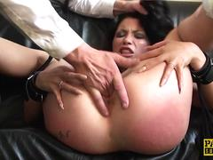 UK squirting skank rough fucked by maledom