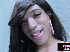 Athletic TS crossdresser toying with her dick