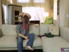 hot slender redhead shemale loves a anal domination sex
