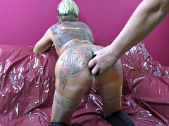 Tattooed Woman Spitting Butt plugs Out Of Her Arsehole