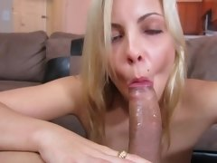 A sweet blonde with a seductive smile and a sexy ass sucks dick