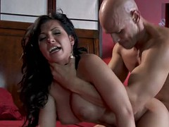 Tight-bodied exotic Latinas strip and fuck cock