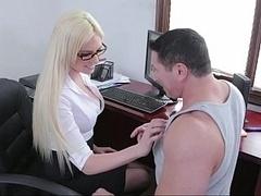 Blondine, Brille, Milf, Büro, Sekretärin, Strümpfe