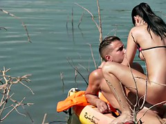 teen lady dee gets fucked on lake beach in the end of canoe trip