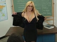 Amerikanisch, Blondine, Blasen, Frau, Brille, Milf, Büro, Lehrer