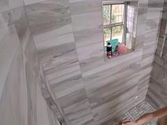 Roommate voyeur spying blonde in shower