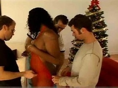 Christmas group-fuck foursome group intercourse with ebony and Dp