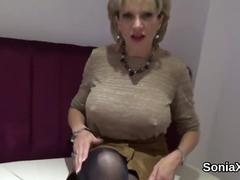 Unfaithful uk milf lady sonia pops out her gigantic titties